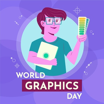 Hand-drawn world graphics day illustration with graphic designer