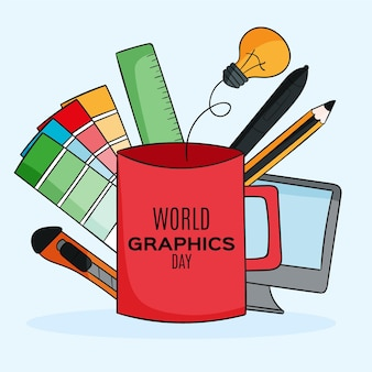 Hand drawn world graphics day illustration