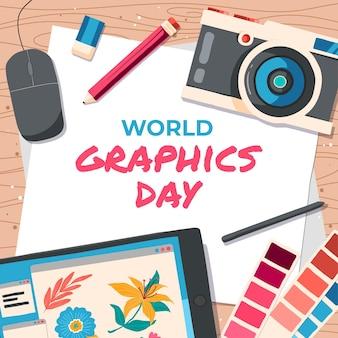손으로 그린 세계 그래픽의 날 그림