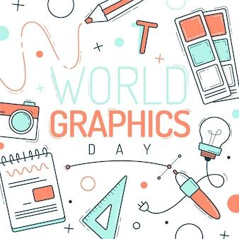 Hand drawn world graphics day illustration