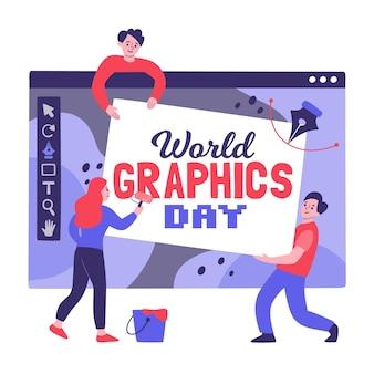 手描きの世界のグラフィックの日のイラスト