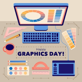 Нарисованная рукой иллюстрация всемирного дня графики