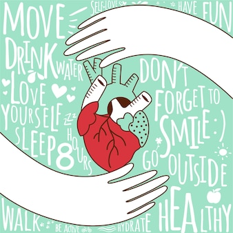 Hand drawn world health day background