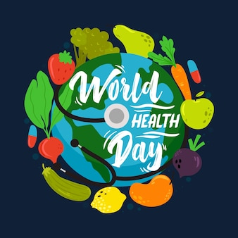 Hand-drawn world health day concept