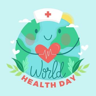 Рисованный дизайн всемирный день здоровья