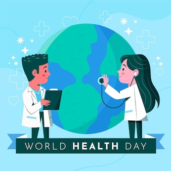 Hand drawn world health day illustration with doctors consulting planet