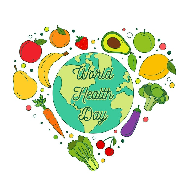 Hand drawn world health day illustration with fruits and vegetables