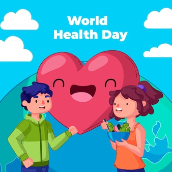 Hand drawn world health day illustration with people eating salad and heart