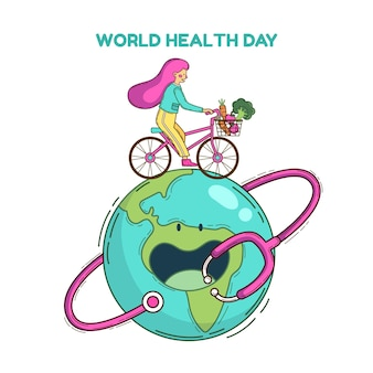 Hand drawn world health day illustration with woman and bicycle on planet