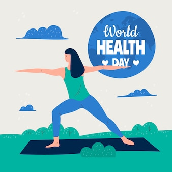 Hand drawn world health day illustration with woman doing yoga
