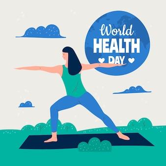 요가 하 고 여자와 손으로 그린 세계 건강의 날 그림
