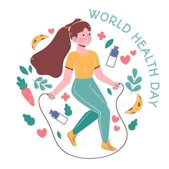 Нарисованная рукой иллюстрация всемирного дня здоровья с женщиной, прыгающей через скакалку