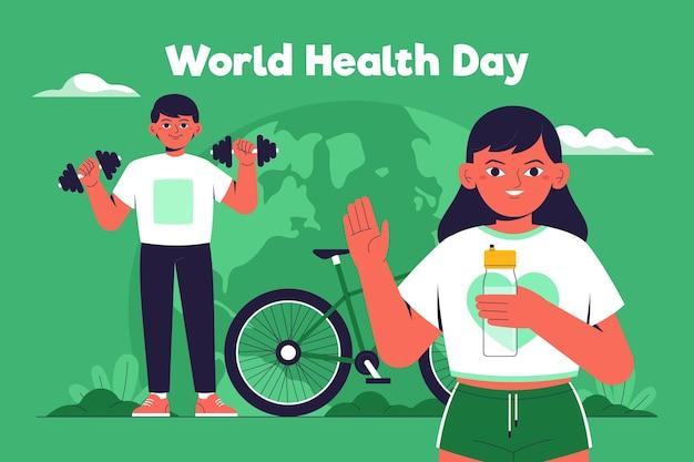 Нарисованная рукой иллюстрация всемирного дня здоровья