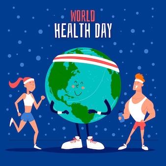 Illustrazione disegnata a mano della giornata mondiale della salute