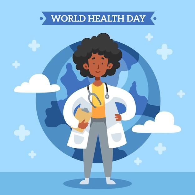 Hand drawn world health day illustration