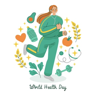 Illustrazione disegnata a mano della giornata mondiale della salute Vettore gratuito