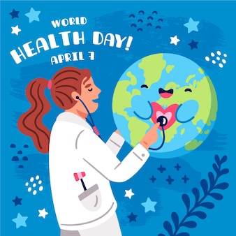 Hand drawn world health day with doctor consulting happy planet