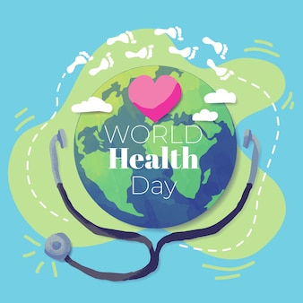 Hand drawn world health day with earth and stethoscope