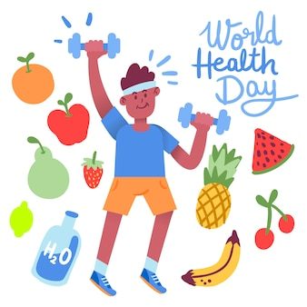 Hand drawn world health day with man doing cardio