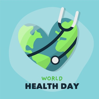 Hand drawn world health day with stethoscope and earth