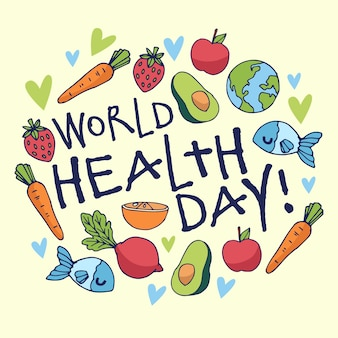 Hand drawn world health day with vegetables