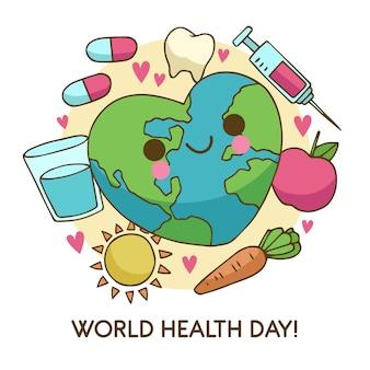 Hand drawn world health day with veggies