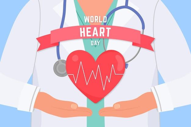 Concetto di giornata mondiale del cuore disegnato a mano