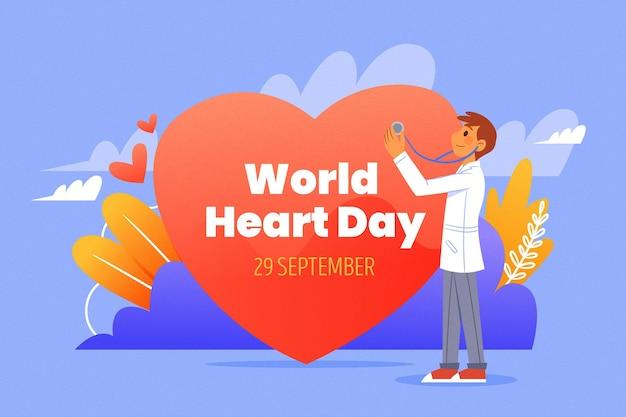 Нарисованная рукой концепция всемирного дня сердца