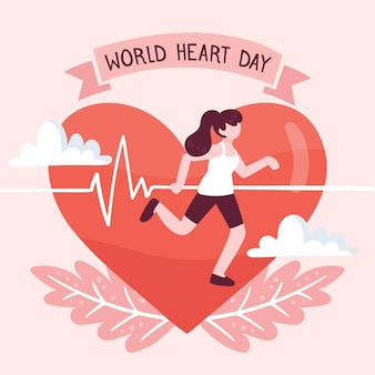 Hand drawn world heart day concept
