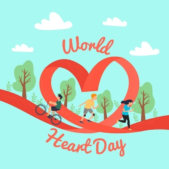 Hand drawn world heart day concept