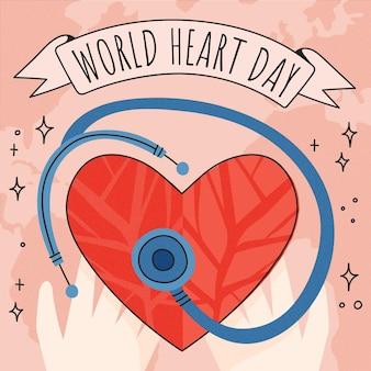 Illustrazione disegnata a mano di giornata mondiale del cuore