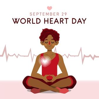 Hand-drawn world heart day theme