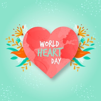 Hand drawn world heart day with heart
