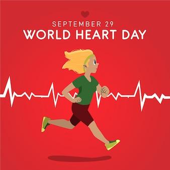 Hand-drawn world heart day