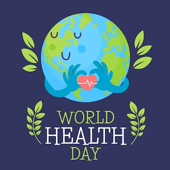 Hand-drawn world heathy day