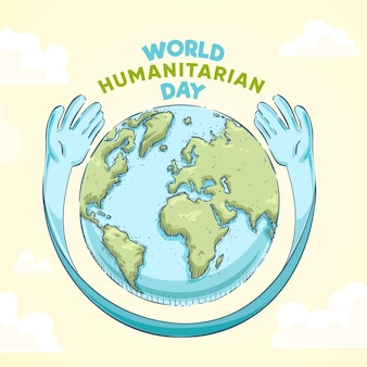 Hand drawn world humanitarian day concept