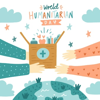 Hand drawn world humanitarian day illustration