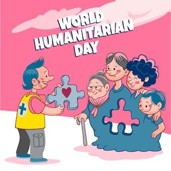 Illustrazione disegnata a mano della giornata umanitaria mondiale
