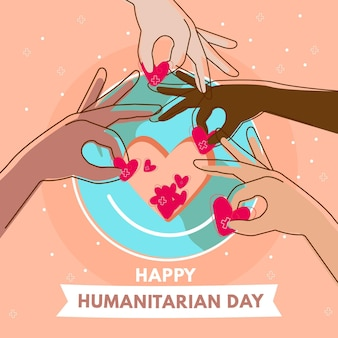Hand drawn world humanitarian day