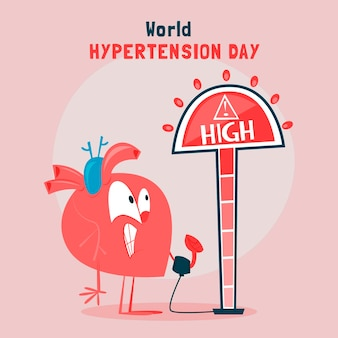 Hand drawn world hypertension day illustration Free Vector
