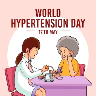 Hand drawn world hypertension day illustration