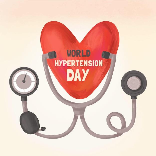 Hand drawn world hypertension day illustration