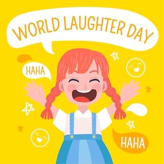 손으로 그린 세계 웃음 하루 그림