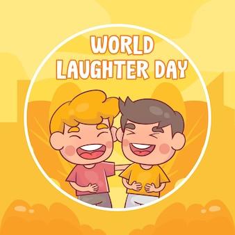 손으로 그린 세계 웃음의 날 프리미엄 벡터
