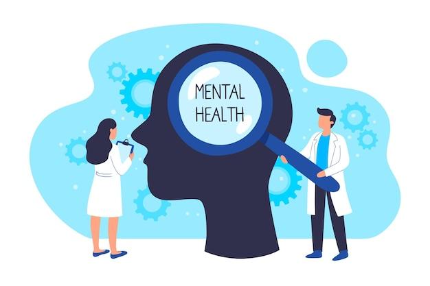 Нарисованная рукой концепция всемирного дня психического здоровья