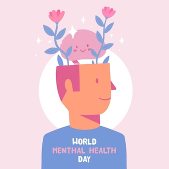 Hand drawn world mental health day concept