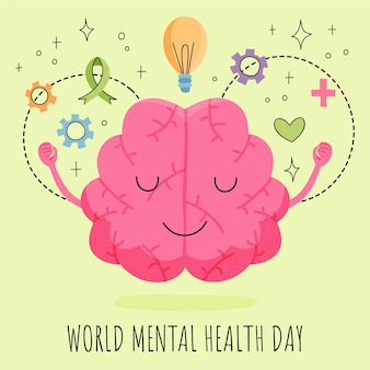 Hand drawn world mental health day illustration