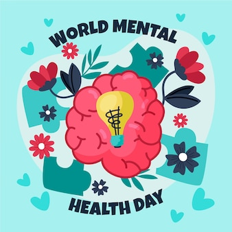 Hand drawn world mental health day with brain and lightbulb