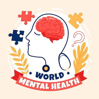 Hand drawn world mental health day with brain