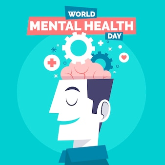 Hand drawn world mental health day with head and gears